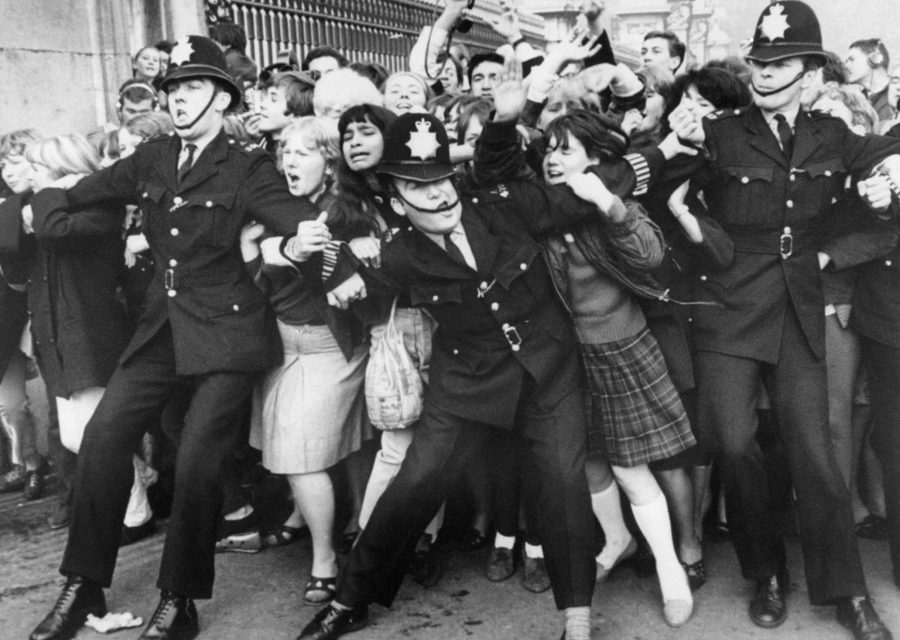 #MusicMoments   Beatles Fans Try to Break Through Police Line at Buckingham Palace, London 1965