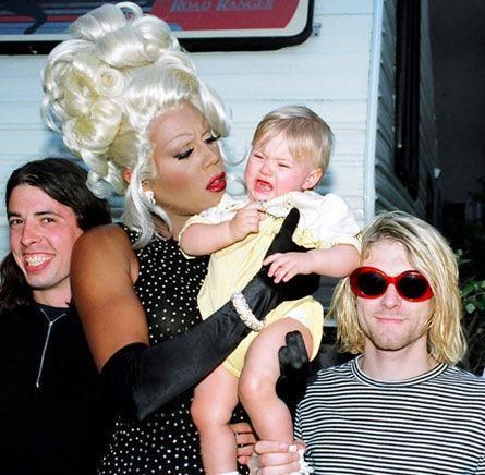 #MusicMoments: Dave Grohl and Kurt Cobain smirk while a flustered RuPaul tries to console a screaming Frances Bean. #TheMusicSite