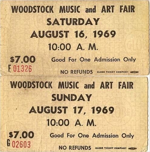#MusicMoments: Festival Tickets for Woodstock, 1969. #TheMusicSite