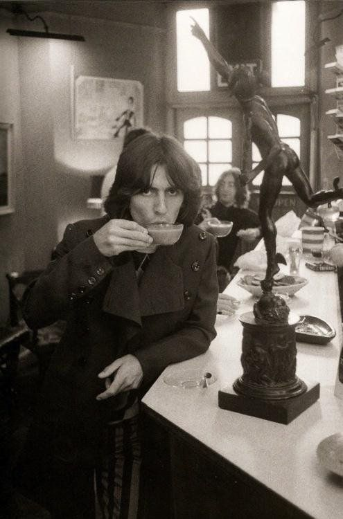 #MusicMoments: George Harrison taking a break and enjoying a cup of tea. #TheMusicSite