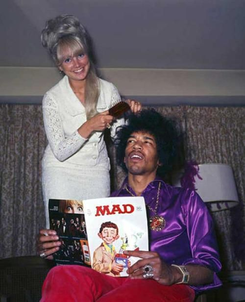 #MusicMoments: Jimi Hendrix hair styling and reading MAD Magazine. #TheMusicSite
