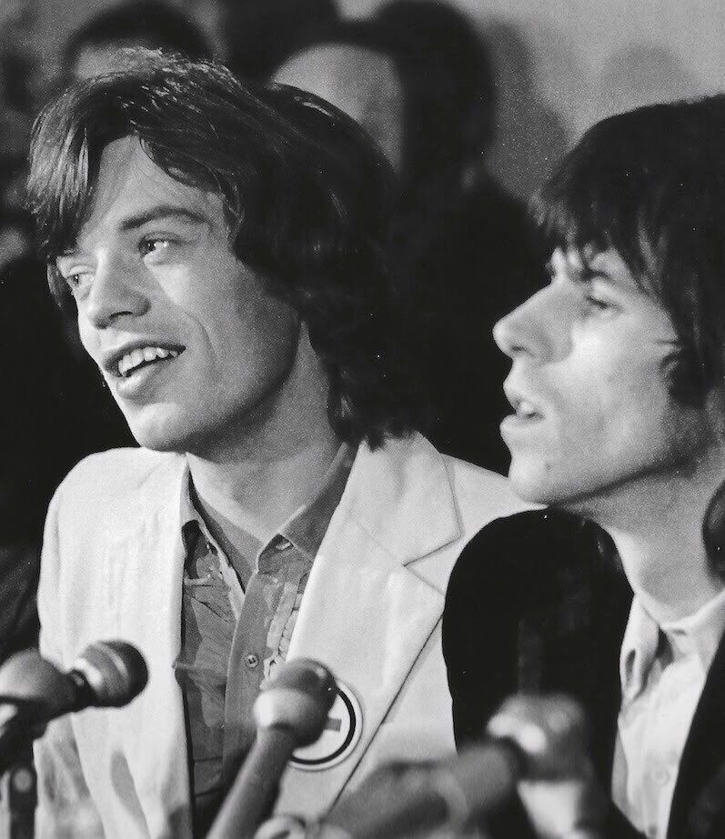 #MusicMoments: Keith Richards and Mick Jagger attend The Rolling Stones' American 1969 Tour press conference in New York, 1969. #TheMusicSite